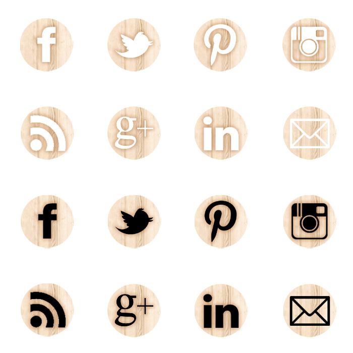 iconos redes sociales madera